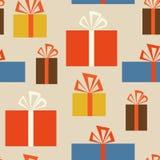 Картина праздника безшовная с подарочными коробками в различной иллюстрация вектора