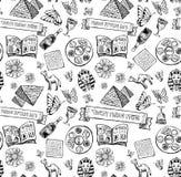 Картина праздника еврейской пасхи еврейская в стиле doodle Стоковые Изображения RF
