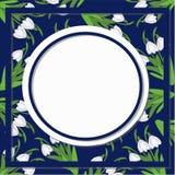 Картина предпосылки весны флористическая абстрактная с цветками snowdrop на синем Стоковое Изображение