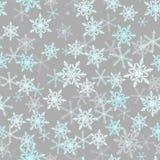 Картина предпосылки снежинки зимы безшовная также вектор иллюстрации притяжки corel серо иллюстрация штока