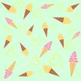 Картина предпосылки конусов мороженого безшовная Стоковые Изображения