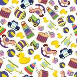 Картина предпосылки младенца Doodle безшовная также вектор иллюстрации притяжки corel Игрушки шаржа для изолята детей дизайн с иг Стоковое Изображение RF