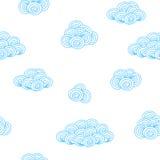 Картина предпосылки с голубыми облаками контура иллюстрация вектора