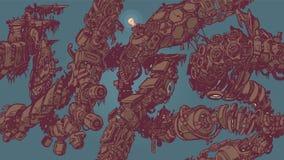 Картина предпосылки tiling лоз старья киберпанка безшовная Стоковые Изображения RF