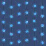Картина приведенная гирлянд светов рождества и Нового Года голубая безшовная иллюстрация штока