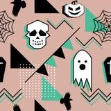 Картина призрака для картины темы хеллоуина безшовной с черепом и геометрической абстрактной предпосылкой Wra моды подростка и де стоковая фотография rf