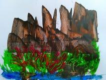 Картина природы акриловая абстрактная стоковые изображения rf