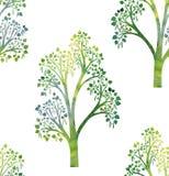 Картина природы безшовная с ветвями дерева березы и листьями зеленого цвета Стоковая Фотография