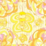Картина притяжки бабочки цветка безшовная Стоковые Изображения