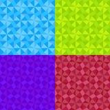 Картина простого геометрического орнамента безшовная установила в 4 цвета Иллюстрация вектора мозаики Стоковая Фотография RF