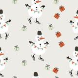 Картина простого рождества безшовная Предпосылка вектора снеговика иллюстрация вектора