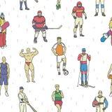Картина профессиональных спортсменов безшовная Стоковое Изображение