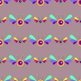 Картина психоделического насекомого фантазии яркая безшовная Бабочка мультфильма вектора Характер красочный иллюстрация вектора