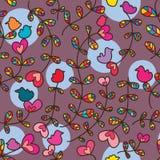 Картина птицы завода влюбленности красочная безшовная Стоковое Изображение
