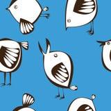 Картина птиц вектора безшовная белая Стоковая Фотография RF