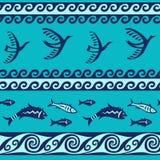 Картина птиц и рыб безшовная бесплатная иллюстрация