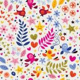 Картина птиц и цветков Стоковые Фотографии RF