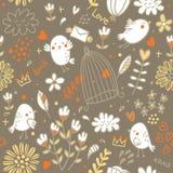 Картина птиц и цветков Стоковое Фото
