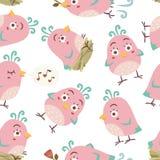 картина птиц стиля шаржа безшовная Стоковое фото RF