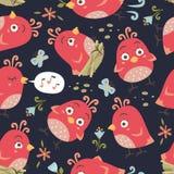 картина птиц стиля шаржа безшовная Стоковая Фотография