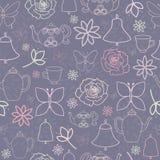 Картина пурпурного чаепития сада весны безшовная иллюстрация вектора