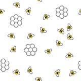 Картина пчел и сотов летания безшовная иллюстрация штока