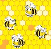 Картина пчел безшовная Стоковое Изображение RF