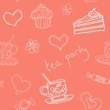 Картина плана вектора doodle чаепития безшовная Стоковое Изображение