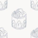 Картина плана торта сливк клубники безшовная бесплатная иллюстрация