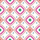 Картина плитки красного и белого косоугольника геометрического среднеземноморского коралла безшовная Стоковые Фотографии RF