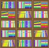 Картина плоского красочного плана книжных полок безшовная Стоковое Изображение
