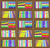 Картина плоского красочного плана книжных полок безшовная Стоковое Изображение RF