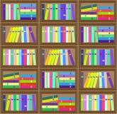 Картина плоского красочного плана книжных полок безшовная Стоковое фото RF