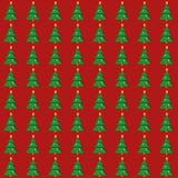 Картина плоской рождественской елки безшовная Стоковое Изображение