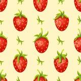 картина плодоовощ безшовная Красные клубники на светлой предпосылке Стоковое Фото