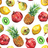 Картина плодоовощ кивиа груши лимона гранатового дерева ананаса акварели безшовная Стоковая Фотография