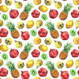 Картина плодоовощ кивиа груши лимона гранатового дерева ананаса акварели безшовная Стоковое Фото