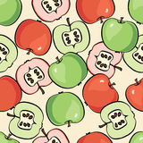 Картина плодоовощ предпосылка яблока безшовная Стоковое Изображение