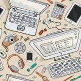 Картина рабочего места с компьютером Стоковые Фотографии RF
