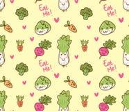 Картина различного kawaii овощей безшовная бесплатная иллюстрация