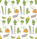 Картина различного kawaii овощей безшовная иллюстрация штока