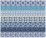 Картина 7 различных голубых плиток Стоковое Изображение