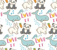 Картина различных животных безшовная в иллюстрации стиля kawaii бесплатная иллюстрация