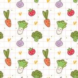 Картина различных овощей kawaii безшовная иллюстрация вектора