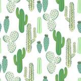 Картина различного вектора пустыни кактусов безшовная Абстрактная терновая печать ткани природы заводов иллюстрация штока