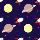 Картина Ракет и планет безшовная Стоковое Фото