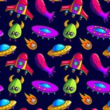 Картина ракет и чужеземцев мультфильма безшовная стоковые изображения rf