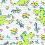 Картина дракона безшовная иллюстрация штока