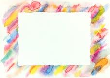 Картина рамки акварели с яркими красочными раскосными ходами Стоковые Изображения
