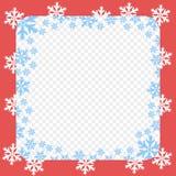 Картина рамки вектора красная Рождество и Новый Год с белыми и голубыми снежинками Прозрачная изолированная предпосылка иллюстрация вектора